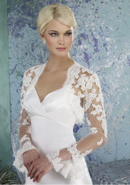Cheap !! Hot Sales White Ivory Long Sleeve Lace Wedding Jackets Bridal Bolero Wedding Accessories Romantic Flare Sleeve Wedding Bolero