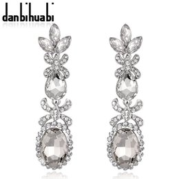 Wholesale pendientes largos Wedding Earrings Glass Rhinestone Long Earring Water Drop Eardrop For Women boucle d oreille femme pendante