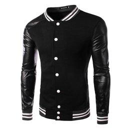 Coton ouaté korean veste de baseball en Ligne-2015 nouvelles arrivent outwear veste mode pour hommes manteau pull Baseball Hoodies Automne coréen MASCULINE Splice pour hommes noirs 4240