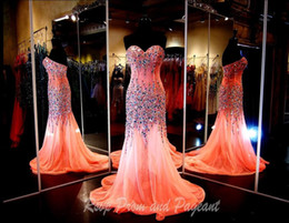 2016 Real Pictures Sparkling Mermaid Prom Dresses Evening Gowns With Crystals Sweetheart Chiffon Beaded Glitz Pageant Dress with Rhinestones