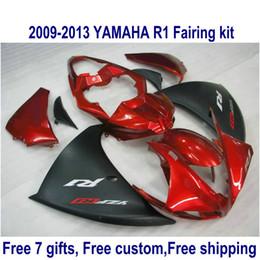Customize motorcycle fairings for YAMAHA YZF R1 2009 2010 2011 2012 2013 bodywork set YZF-R1 matte black red fairing kit 09-13 HA70