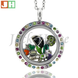 High quality 316L stainless steel multi color crystal locket twist waterproof locket round floating locket necklace