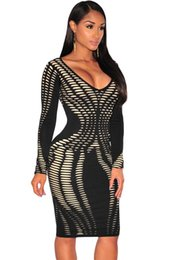 New Sexy Club Dresses 2016 Women Black Knit Laser Cut Nude Illusion Long Sleeve Bodycon Midi Party Dress Casual Vestidos Q60848