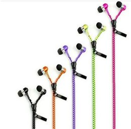 High Quality Stereo Bass Headset In Ear Metal Zipper Earphones Headphones with Mic 3.5mm for iPhone Samsung Xiaomi