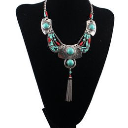 European Turkey style silver gold plated alloy Turquoise beads Carving resin tassels necklace
