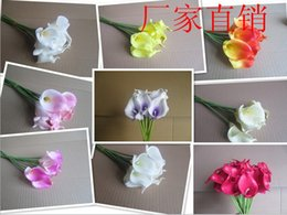 Decorative flower 16 colors Real touch Dark Purple Mini Calla Lily Wedding Bouquet artificial flower MTL003