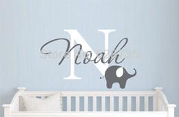 Wholesale Elephant with boys name wall decal Custom Boys Name Vinyl Wall Sticker Baby Nursery Wall Decal Elephant