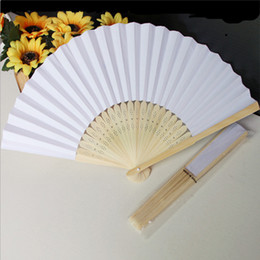 Wholesale In stock hot selling white bridal fans hollow bamboo handle wedding accessories Fans Parasols