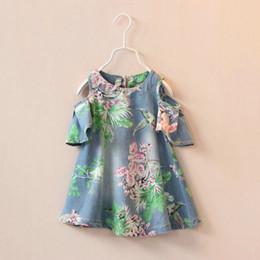 Wholesale 2015 Summer Dress Girls Fashion Hollow Out Shoulder Printing Flowers Denim Skirt Kids Dress