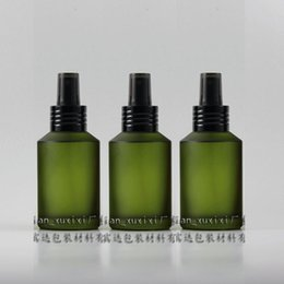 125ml olive green frosted Glass travel refillable perfume bottle with black aluminum atomizer sprayer,perfume container
