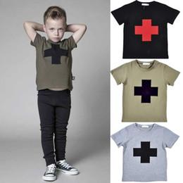 Nouveaux garçons NUNUNU croix imprimé T-shirts 1-5T enfants été manches courtes vêtements filles t shirts enfants vêtements 5pcs à partir de nouvelle filles vêtements fournisseurs