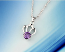 Crown Amethyst Pendant Necklace White Crystal White Diamond purple diamond jewelry Korea Valentine Pendant Fashion Wholesale