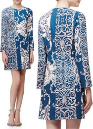 Fashion Print Women Shift Dress Half Sleeves Casual Dresses 15100811