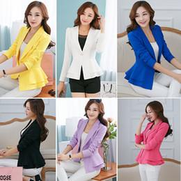 Wholesale Women Blazer Fashion Suits Foldable Long Sleeve Lapel Coat Candy Color Ladies Vogue Blazers Jacket Single Button Plus Size XL