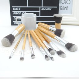 Wholesale Free DHL Makeup Brushes Set Cosmetics Maquiagem Profissional High Quality Bamboo Cosmetic Brushes Kit Brush with Draw String bag