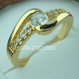 18k gold GF simulated diamond engagement wedding solid ring R157 Size8