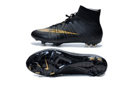 Wholesale Nike Men s Mercurial Superfly FG Black Gold Soccer Cleats Sock Boots Superfly Shoes Football Shoes