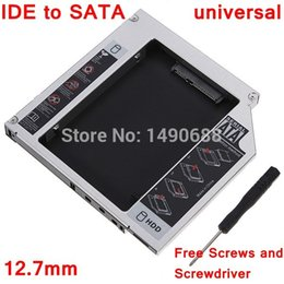 Wholesale Sata Ide Hard Drive Caddy - Free Shipping Universal 12.7mm IDE To SATA 2nd Hard Drive Caddy For Acer For Asus For Dell For Toshiba For Apple Laptop