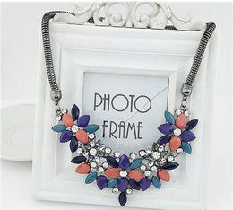 Wholesale Chrismas Tin - 2015 fashion for women Vintage Style Luxury Blue Crystal Acrylic Gem Collar Chokers Statement Necklace Chrismas Gift Jewelry