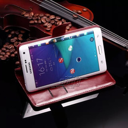 Hybrid Case For Samsung Note EDGE N9150 Litchi Leather+Crazy Horse Leather Wallet Case with free gift