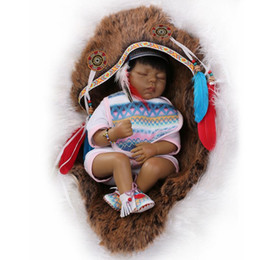 Wholesale Native American Indian reborn baby doll Vinyl Silicone cm Babies Doll Lifelike express Toys for Children Gift Closed Eyes