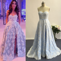 Light Blue Prom Dresses 2016 with Side Slit A Line Beaded Lace Appliqued Sweep Train Evening Gowns