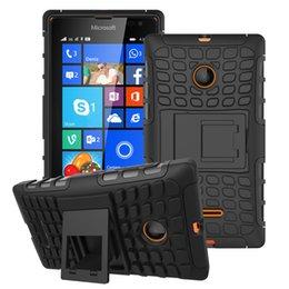 Wholesale Al por mayor Para Microsoft Nokia Lumia caja híbrida Kickstand resistente de goma armadura dura de la PC TPU en Con Contraportada casos la función del soporte