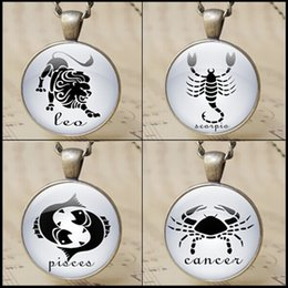 vintage 12 Zodiac symbol necklace rounded constellation Sign pendant jewelry horoscope zodiac jewelry charm gifts 12pcs 1453