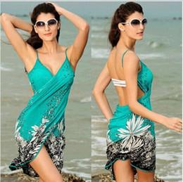 New Beach Bathing Suit Cover Up Bikini Scarf Pareo holiday beach Sarong V-Neck printing Cover-Ups swimwear sexy one piece rash guards WS049
