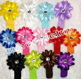2017 las cabezas de flor clips Arco del clip de pelo de la flor de señora Crystal Tropical Lily Head Flower 10pcs del bebé con la venda GZ7435 del ganchillo descuento las cabezas de flor clips