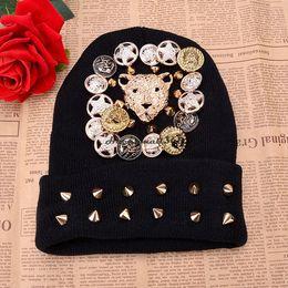 Wholesale Skull Caps Online - Wholesale-Free Shipping Punk Knitted Boys Girls Hip-hop Skulls Cap spikes Rivet Beanies Winter Wool Warm hats Cheap Online 36