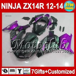7gifts For KAWASAKI ZX-14R 12 13 12 13 ZX14 R 25C177 Flat black ZX 14R 12-13 NINJA ZX14R 2012 2013 2012 2013 Purple black ZX 14 R Fairing