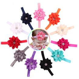 Baby Headband Lotus rhinestone flower for headbands 11 colors Super elastic headbands for girls Infant headdress Children's hair accessories