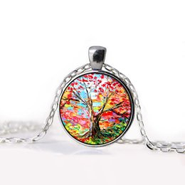 Wholesale 2015 NEW Tree of Life Necklace Pendant Jewelry Vintage oil painting Silver Family Christmas Style Charm Jewellery Gift