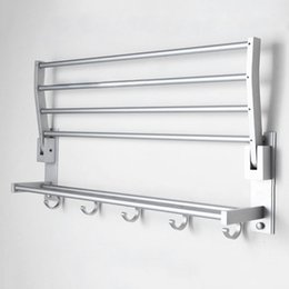 Wholesale Hot Selling Bathroom Towel Holder Foldable Aluminum Alloy Towel Rack With Hooks Storage Rack Bathroom Accessories JE0075