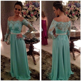 Mint Green Off the Shoulder Lace Evening Gowns with Long Sleeves Prom Dresses 2015 Elegant Long Women Dress Vestidos de Festa