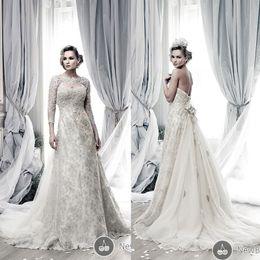 Wholesale 2015 Ian Stuart Wedding Dresses A Line Long Sleeve Detachable Sheer Top Sweetheart Beads Sequins Flowers Floor Length Bridal Dress Dhyz