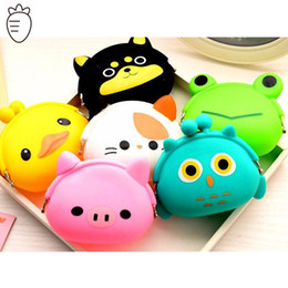 Wholesale women fashion brand baby girls coin purses cats cute animal coin purses prints silicone bag small wallets children owl coin bank
