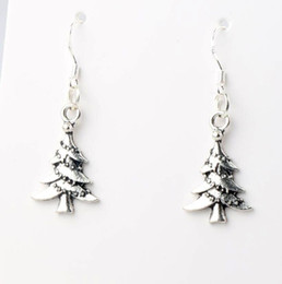 Wholesale 2016 hot MIC x38 mm Antique Silver Lantern String Christmas Tree Charm Pendant Earrings Silver Fish Ear Hook Dangle Chandelier E745