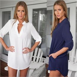 Wholesale Solid Color Boyfriend Shirt - Plus Size Boyfriend Loose Shirt Blusinhas Solid Camisa Feminina Long Sleeve Pockets White Blue Casual V-Neck Tops Chiffon Blouse S-XXL
