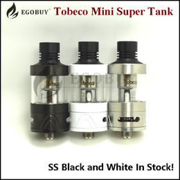 Authentic Tobeco Super Tank Mini with replacement 0.2ohm 0.5ohm coil 4ml atomizer ss black White supertank 22mm sub ohm atomizers original