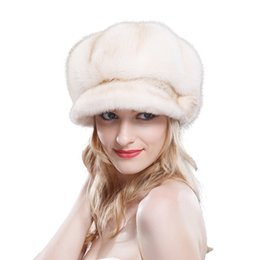 Topshop Mode européenne Russain style hiver de luxe Véritable fourrure de visière chapeau de baseball et chapeaux en plein air Femmes artificiel mink fourrure baseball chapeau à partir de la mode en plein air européen fournisseurs