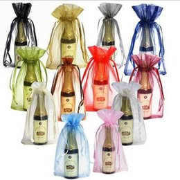 Wholesale Wine Bottle Cover luxury Clear Organza Drawstring Bags cm x cm quot x quot Fashion Gift Pouches
