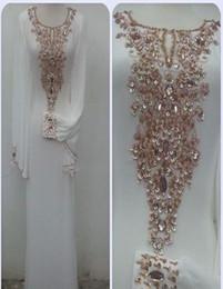 Dubai Kaftans abaya jalabiya Ladies Maxi Dress Evening Gowns with Long Sleeves Beaded Crystal Fancy Wedding Party Prom Dresses