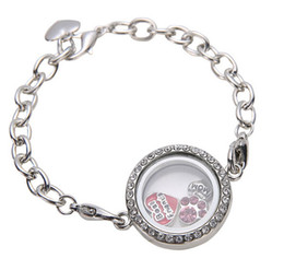 Wholesale 30mm Silver Crystal round Circle Living Memory Locket Bracelet For Floating Charms Lobster Clasp