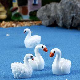 8pcs   lot White   Black Swan fairy garden miniatures Crystal bottle Decoration animal moss micro landscape gnome resin craft