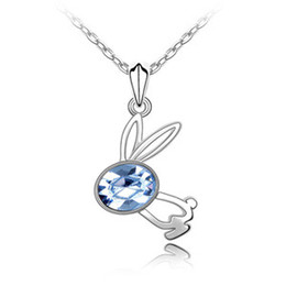 Wholesale Factory Jumping rabbit Korean manufacturers crystal pendant necklace short section of high end European and American f