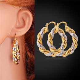 Wholesale Vintage Brand K Real Gold Platinum Double Colored Plated Earrings Basketball Wives Hoop Earrings For Women YE683