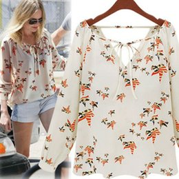 Wholesale-Women Fashion Chiffon Top Blouse Short Long Sleeve Dove Print Casual Loose Shirt