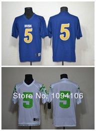 Factory Outlet- Cheap #5 Manti Te'o Blue White Ncaa Notre Dame Fighting Irish Authentic Football Jerseys #5 Te'o Embroidery Logo Jersey